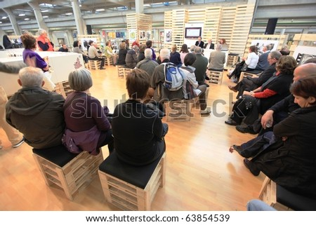 TORINO, ITALY - OCT. 24: People participate to meetings at Salone del Gusto, international fair of tastes and slow food on October 24, 2010 in Torino, Italy.