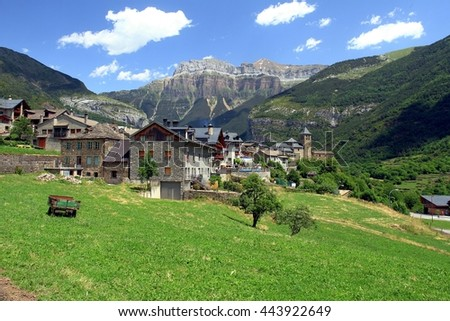 Torla town in Ordesa National pakr in the spanish pyrenees.