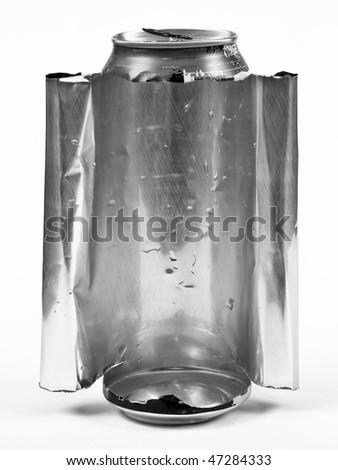 Torn aluminum can - stock photo