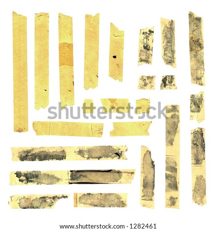 Torn and cut tape strips. Large 12.5MP file. - stock photo