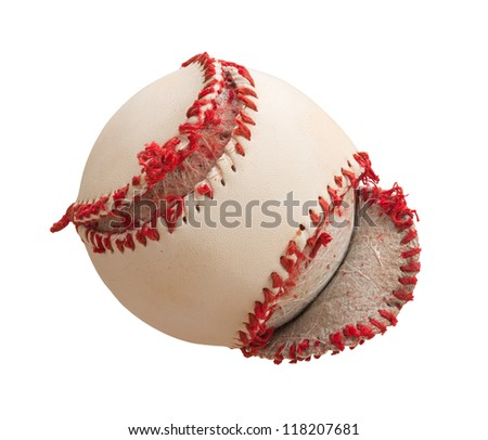 Torn Baseball Cover Isolated on a white background - stock photo
