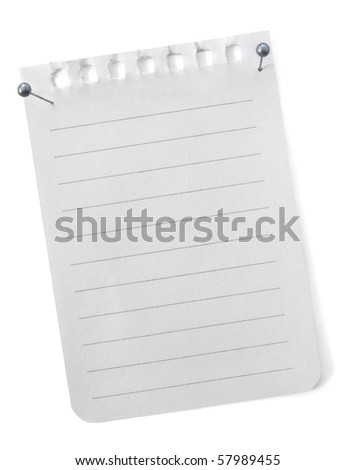 Torn blank notepaper, with pearl-headed pins, ready for your message. - stock photo