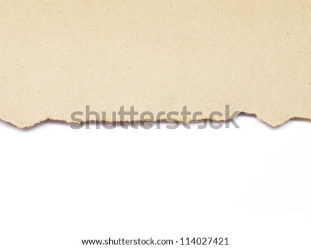 torn brown recycle paper isolated on white background - stock photo