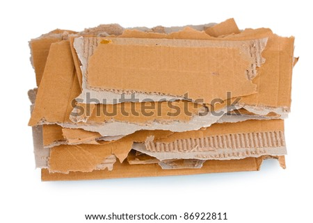 Torn cardboard isolated on white