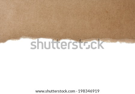 Torn Cardboard Paper, Isolated - stock photo