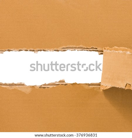 Torn cardboard sheet isolated on white with place for text. Square format. Industrial, logistic, delivery, post concept. Abstract background for web design, printables, scrapbooking. - stock photo