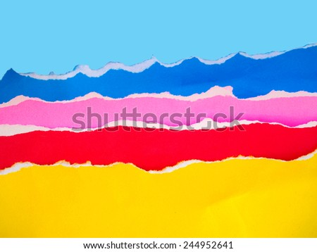 torn color paper background - stock photo