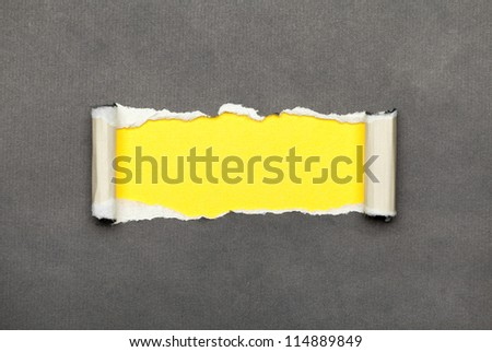 Torn curled paper with yellow space for your message - stock photo