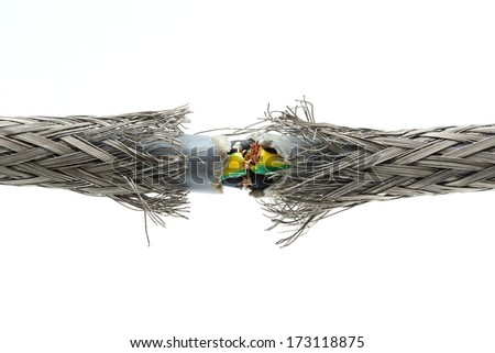 torn damaged power cable - stock photo