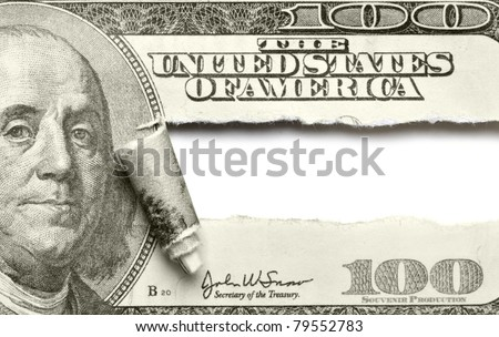 Torn dollar banknote with space for your own text - stock photo