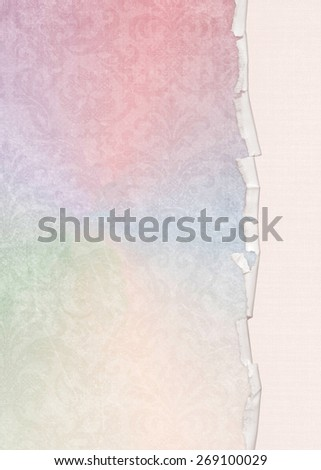 torn edge on soft pastel rainbow damask page with texture - stock photo