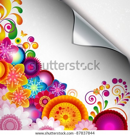 Torn floral background for gift design. Bright decor with abstract flowers and leafs.