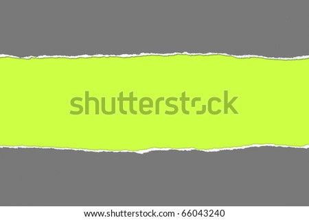 Torn gray Paper with space for text on green background - stock photo
