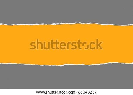Torn gray Paper with space for text on orange background - stock photo
