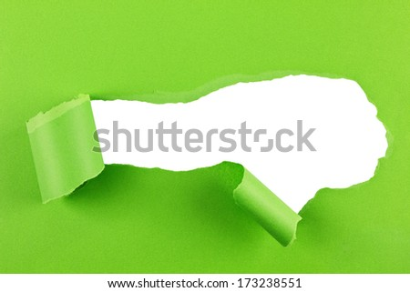 Torn green paper isolated over a white background - stock photo