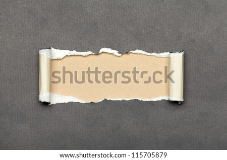 Torn grey paper with beige copyspace for your message - stock photo