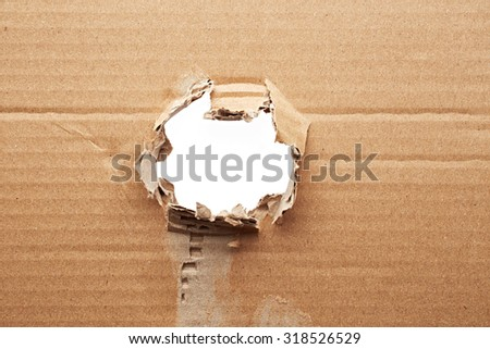 Torn hole in cardboard - stock photo