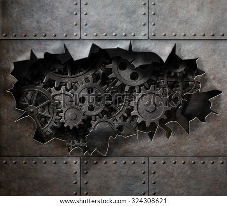 Torn hole in old metal with rusty gears and cogs - stock photo