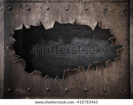 torn hole in rusty metal steam punk 3d illustration background - stock photo