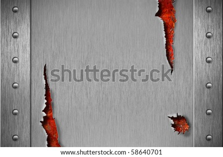 Torn metal armor with rivets over rusty grunge background - stock photo