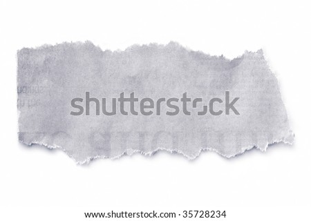 Torn newspaper, isolated on white with natural soft shadow. - stock photo