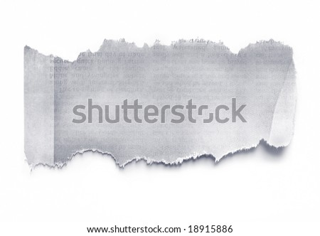 Torn newspaper, ready for your message.  Casting natural shadow on white. - stock photo