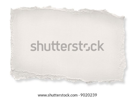 Torn off-white paper, ready for your message.  With drop shadow, isolated on white.