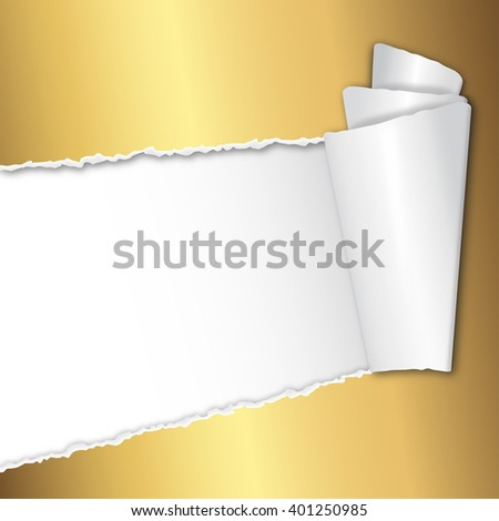 torn open golden paper with space for text