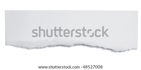 Torn paper banner, isolated on white with soft shadow. - stock photo