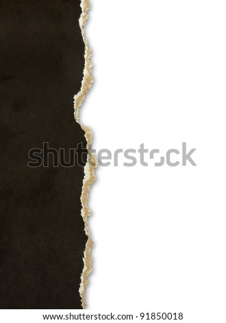 Torn paper borders isolated on white - stock photo