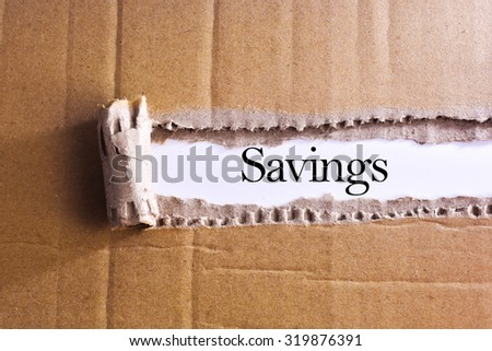 Torn paper box with word Savings - stock photo