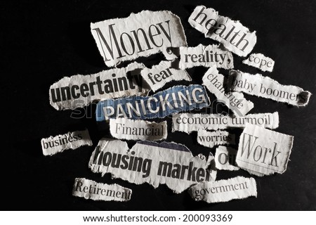 Torn paper economic news headlines  - economy  concept                            - stock photo