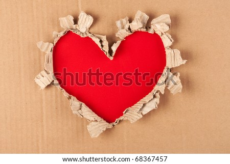torn paper heart - stock photo