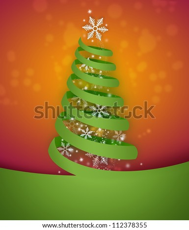 Torn paper in the shape of Christmas tree. Modern Christmas background - stock photo