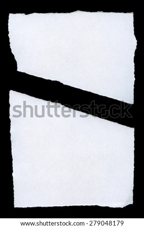 Torn Paper.Isolated on black background. - stock photo