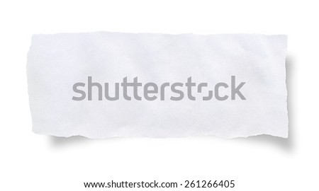 Torn paper, isolated on white with soft shadows - stock photo