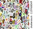 Torn paper letters and numbers. Repeating seamless wallpaper background. - stock photo