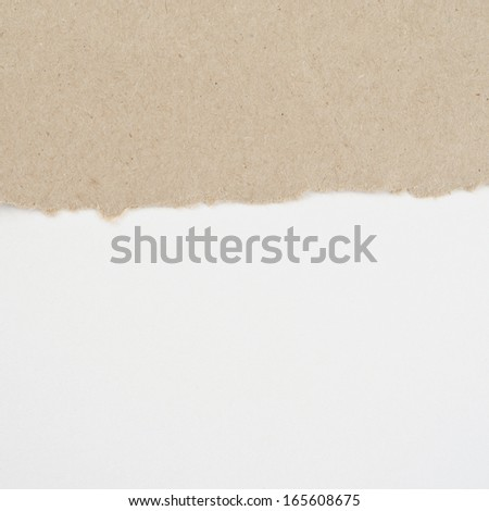 Torn paper on white cardboard - stock photo