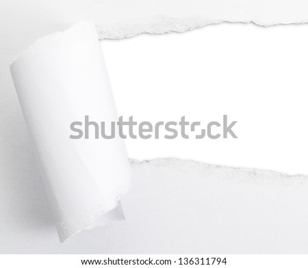 Torn paper sheet with an empty gap hole as a copyspace background