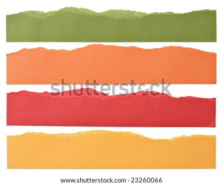 Torn paper strip borders. - stock photo
