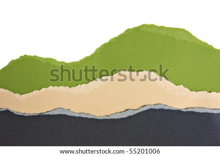 Torn paper strip borders. - stock photo