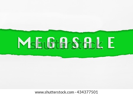 Torn paper with a MEGASALE word on red background.
