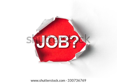 Torn paper with a word Job? - stock photo
