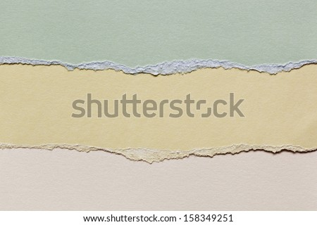 Torn paper with copyspace.  Shades of green, yellow and beige.  Great textures and detail. - stock photo