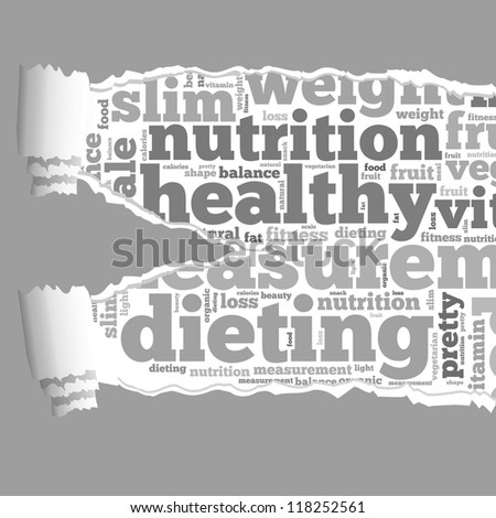 Torn Paper with diet info-text graphics and arrangement concept on white background (word cloud) - stock photo