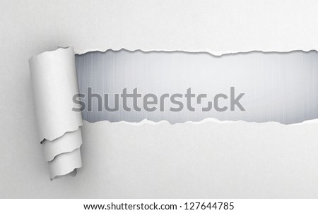 Torn paper with gray background - stock photo