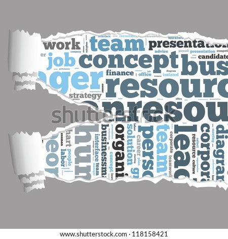 Torn Paper with human resources info-text graphics and arrangement concept on white background (word cloud) - stock photo