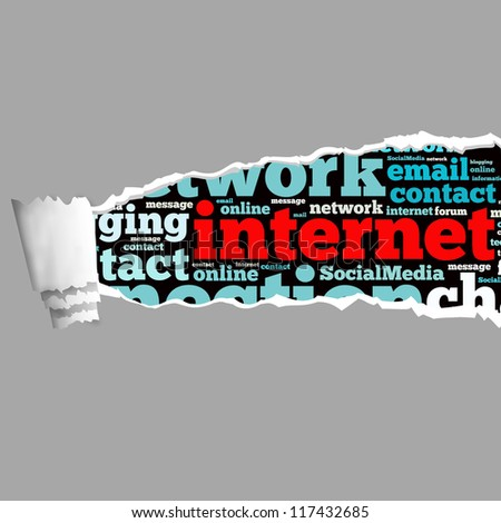 Torn Paper with internet info-text graphics and arrangement concept on white background (word cloud) - stock photo