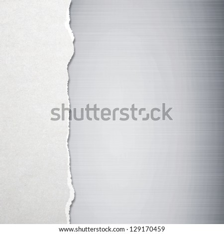 Torn paper with metal background - stock photo