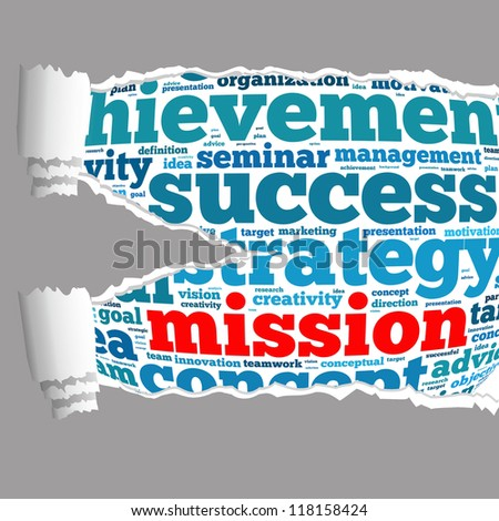 Torn Paper with mission info-text graphics and arrangement concept on white background (word cloud)